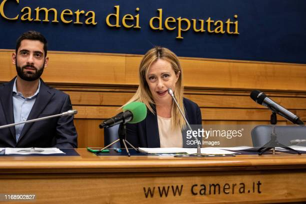 Giorgia Meloni leader of Brothers of Italy and Fabio Roscani attend the press conference at Palazzo Chigi in Rome