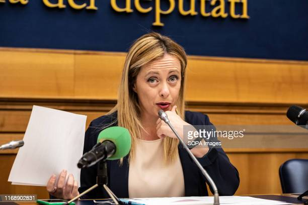 Giorgia Meloni leader of Brothers of Italy speaks during the press conference at Palazzo Chigi in Rome