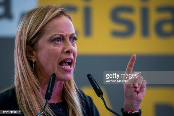 Giorgia Meloni leader of Fratelli dItalia delivers her speech during the closure event of the rightwing regional election campaign on September 18...