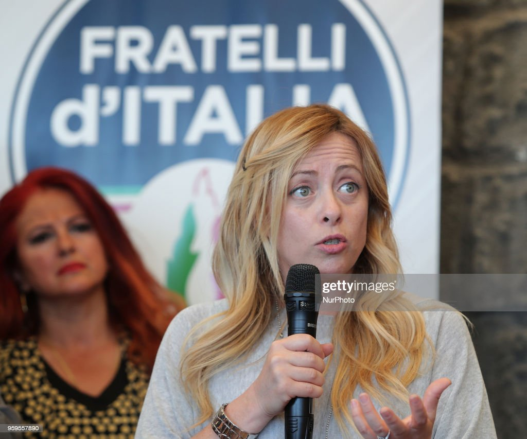 Giorgia Meloni leader of Fratelli d'Italia (Brothers of Italy) party a the presentation of the Major candidate of Messina, Dino Bramanti, in Messina, Italy, on 17 May 2018.