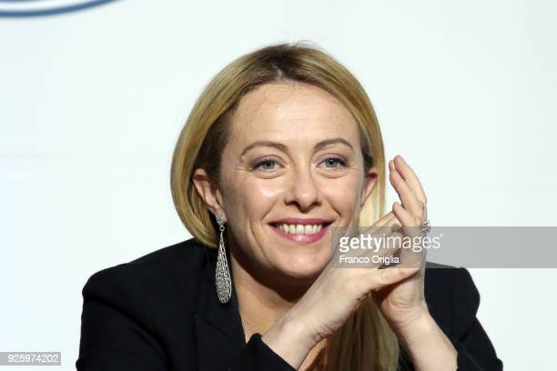 Giorgia Meloni leader of 'Fratelli d'Italia' party attends an electoral meeting of the centreright coalition at the Adriano's Temple on March 1 2018...