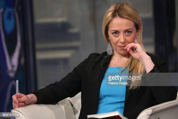 Giorgia Meloni leader of 'Fratelli d'Italia' party attends 'Porta a Porta' talk show at the RAI studios on February 27 2018 in Rome Italy The Italian...