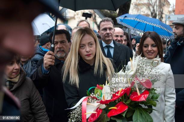 Giorgia Meloni leader of Fratelli d'Italia party candidate for the next political elections visiting monument to the victims of terrorism by Brigate...