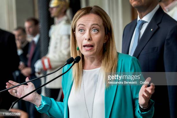 Giorgia Meloni Leader of Fratelli d'Italia party speaks to the media after a meeting with Italian president Sergio Mattarella during the second day...
