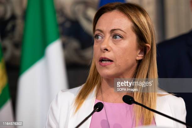 Giorgia Meloni leader of Fratelli dI'talia speaks to the Media after a meeting with the Italian President Sergio Mattarella for the consultations...