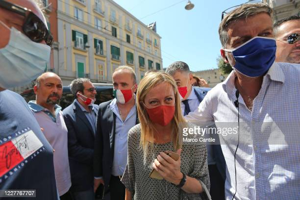 Giorgia Meloni leader of the Fratelli D'Italia political party arrives at the press conference in Naples for the regional elections in Campania