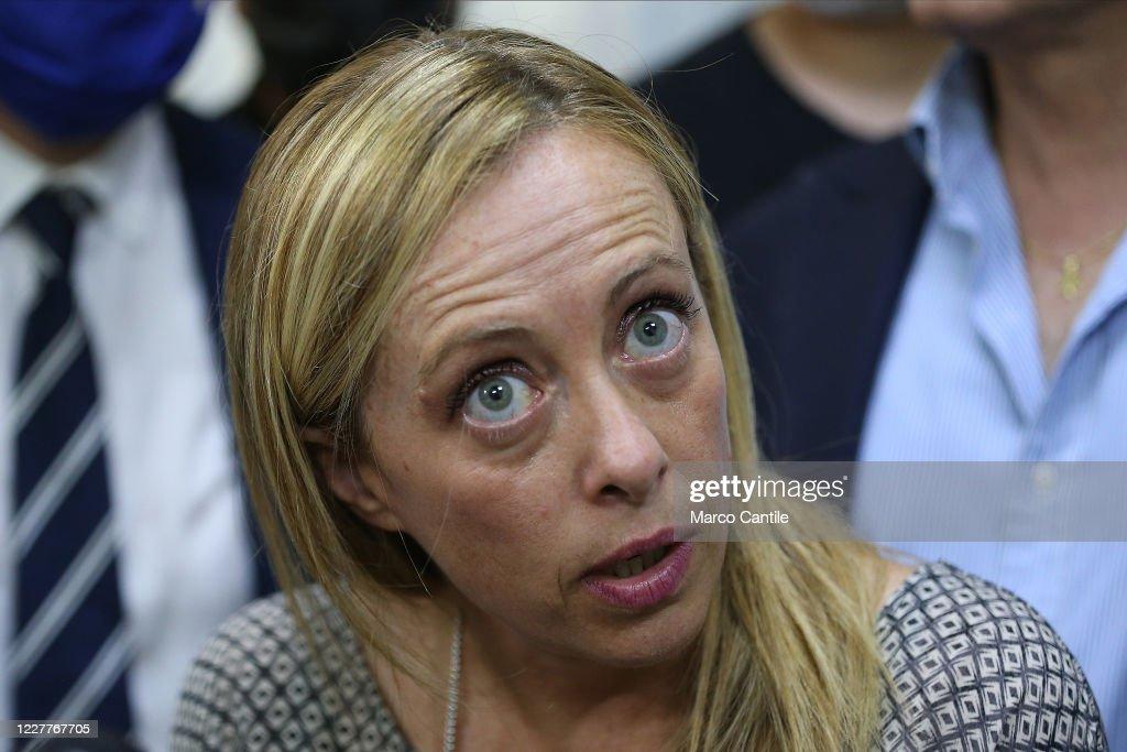 Giorgia Meloni, leader of the Fratelli D'Italia political... : Foto di attualità
