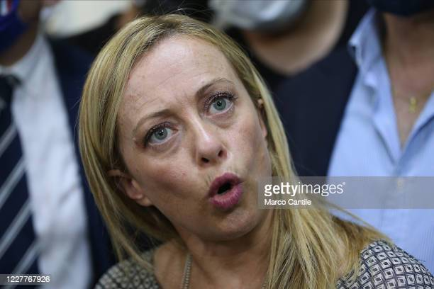 Giorgia Meloni, leader of the Fratelli D'Italia political party, during a press conference in Naples for the regional elections in Campania.