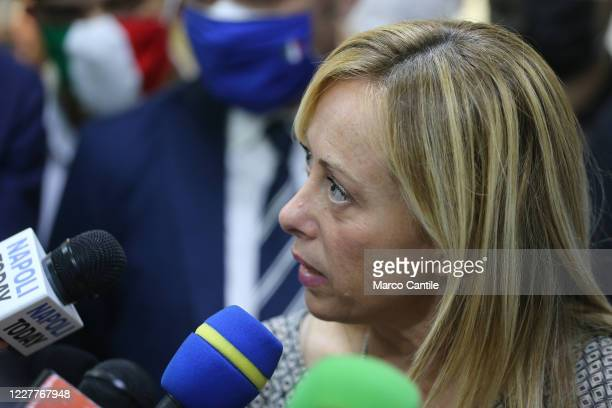 Giorgia Meloni leader of the Fratelli D'Italia political party during a press conference in Naples for the regional elections in Campania