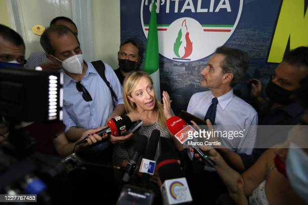Giorgia Meloni leader of the Fratelli D'Italia political party speaks with journalists during a press conference in Naples for the regional elections...