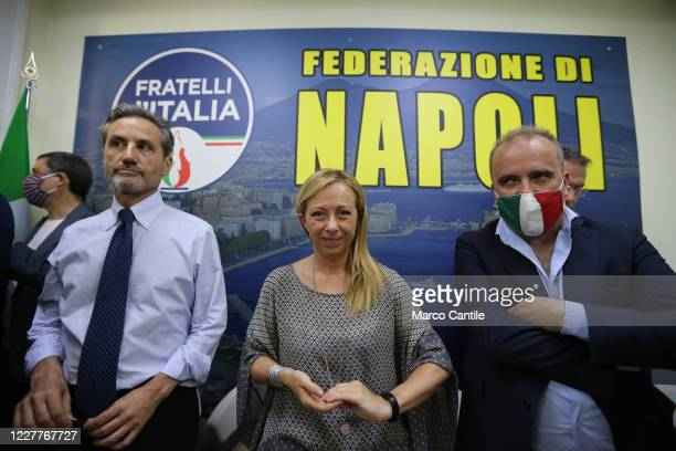 Giorgia Meloni leader of the Fratelli D'Italia political party with Stefano Caldoro candidate President of the Campania region during a press...