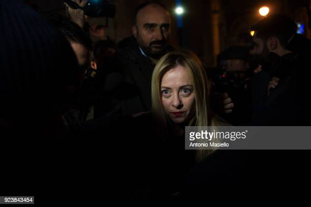 Giorgia Meloni leader of the rightwing party Fratelli d'Italia takes part in a political rally in Rome Italy on February 24 2018 The Italian General...