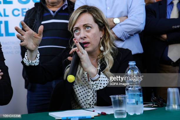 Giorgia Meloni leader the of Fratelli d'Italia party speaks at a conference for the southern region in Matera