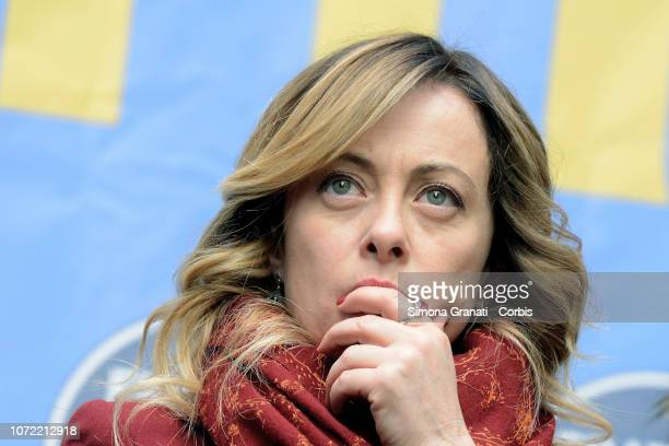 Giorgia Meloni President of the right wing party Fratelli d'Italia participates in the demonstration in front of the Parliament in Piazza...
