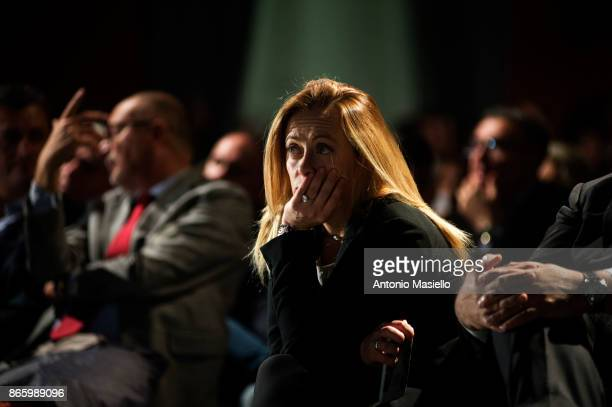 Giorgia Meloni takes part at the book presentation of Sergio Pirozzi Mayor of Amatrice on October 24 2017 in Rome Italy
