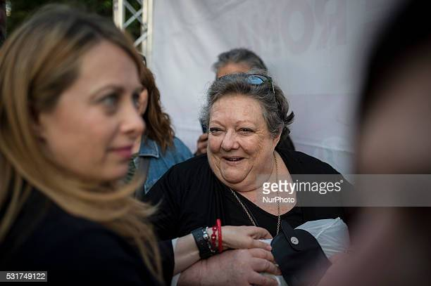 Giorgia Meloni with his mother Anna Paratore during an election meeting in Rome Italy May 16 2016