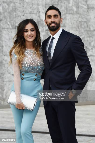 Giorgia Palmas and Filippo Magnini arrive at Convivio 2018 on June 5 2018 in Milan Italy
