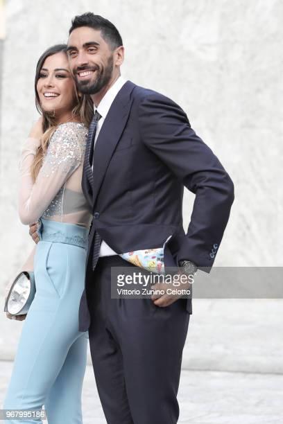 Giorgia Palmas and Filippo Magnini pose on June 5 2018 in Milan Italy