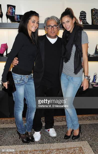 Giorgia Palmas Giuseppe Zanotti and Melissa Satta attend the presentation of Vicini Spring/Summer Collection as part of Milan Fashion Week on...