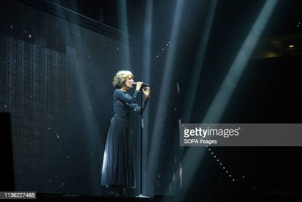 Giorgia Todrani seen performing live on stage during the Pala Alpitour in Turin for her pop heart tour