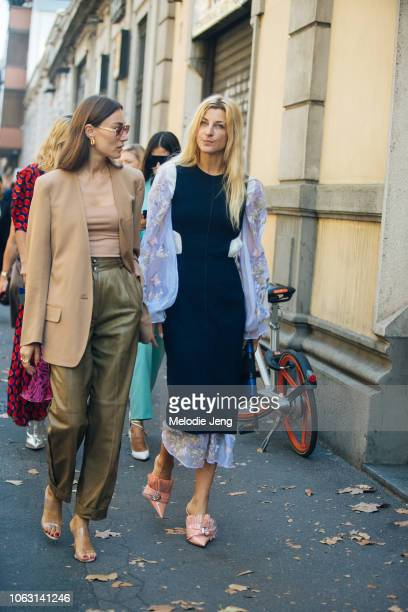 Giorgia Tordini and Ada Kokosar after the Marni show during Milan Fashion Week Spring/Summer 2019 on September 23 2018 in Milan Italy Ada wears...