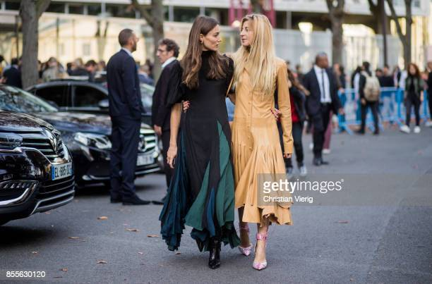Giorgia Tordini and Ada Kokosar is seen outside Loewe during Paris Fashion Week Spring/Summer 2018 on September 29 2017 in Paris France
