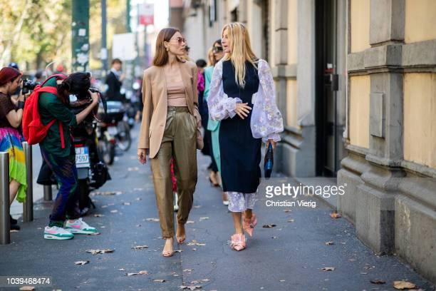 Giorgia Tordini and Ada Kokosar is seen outside Marni during Milan Fashion Week Spring/Summer 2019 on September 23 2018 in Milan Italy