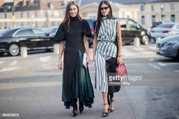 Giorgia Tordini and Gilda Ambrosio is seen outside Loewe during Paris Fashion Week Spring/Summer 2018 on September 29 2017 in Paris France