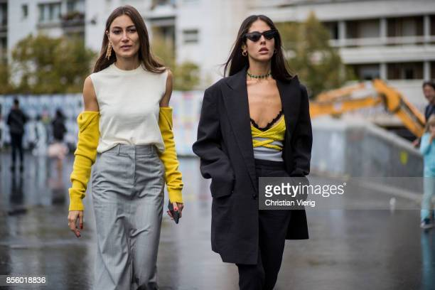 Giorgia Tordini and Gilda Ambrosio seen outside Haider Ackermann during Paris Fashion Week Spring/Summer 2018 on September 30 2017 in Paris France