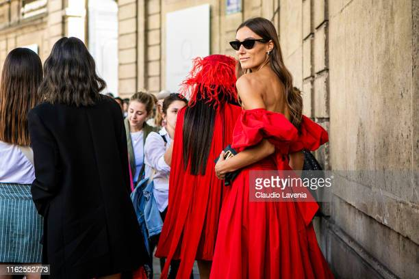 Giorgia Tordini fashion details is seen outside VALENTINO show during Paris Fashion Week Haute Couture Fall/Winter 2019/2020 on July 03 2019 in Paris...