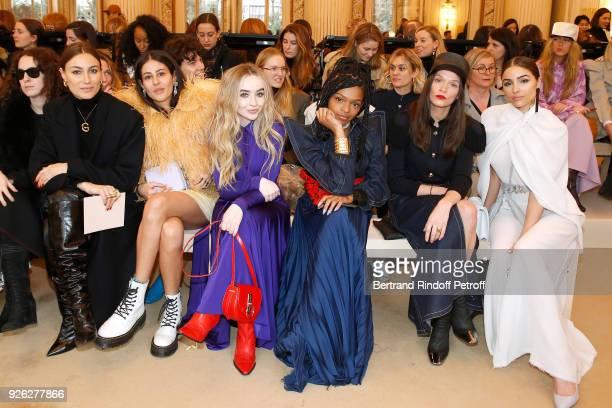 Giorgia Tordini Gilda Ambrosio Sabrina Carpenter Selah Marley Anna Brewster and Olivia Culpo attend the Nina Ricci show as part of the Paris Fashion...