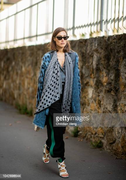 Giorgia Tordini is seen outside Loewe during Paris Fashion Week Womenswear Spring/Summer 2019 on September 28 2018 in Paris France