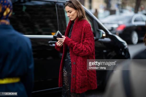 Giorgia Tordini is seen wearing sheer skirt outside Miu Miu during Paris Fashion Week Womenswear Fall/Winter 2019/2020 on March 05 2019 in Paris...