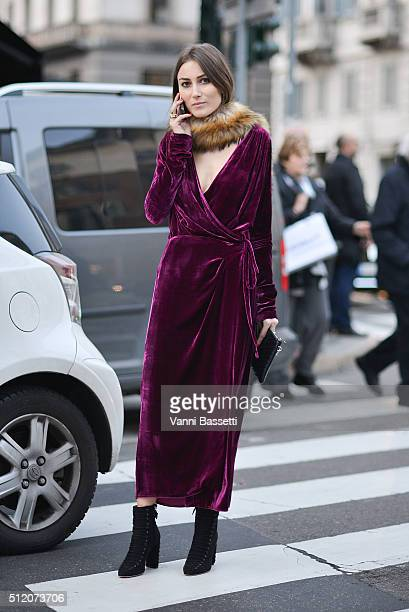 Giorgia Tordini poses before the Alberta Ferretti show during the Milan Fashion Week Fall/Winter 2016/17 on February 24 2016 in Milan Italy