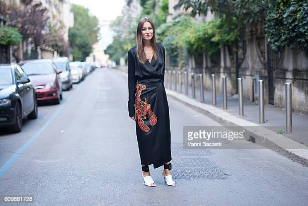 Giorgia Tordini poses before the N21 show during Milan Fashion Week Spring/Summer 2017 on September 21 2016 in Milan Italy