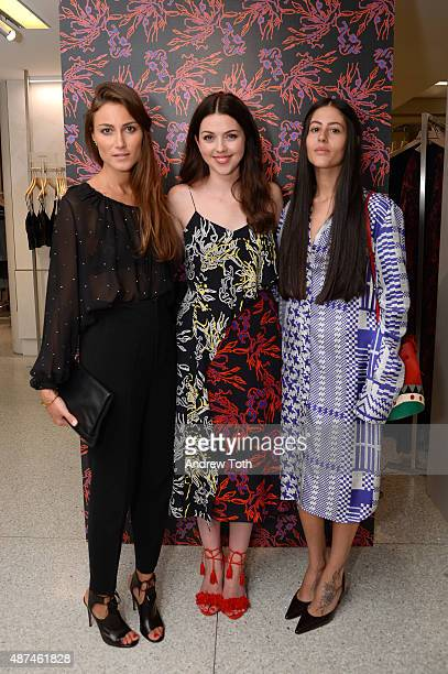 Giorgia Tordini Tanya Taylor and Gilda Ambrosio attend the Bergdorf Goodman Names To Know Event at Bergdorf Goodman on September 9 2015 in New York...