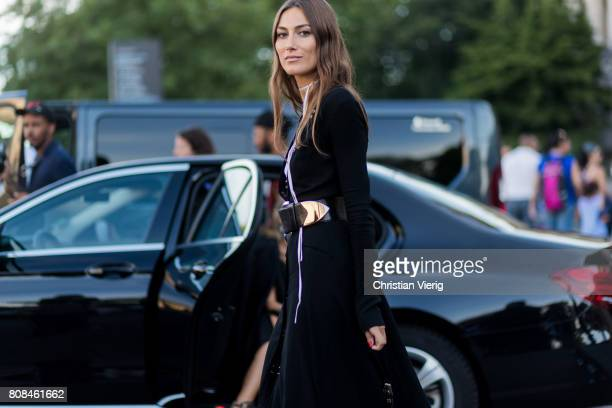 Giorgia Tordini wearing a black dress bar outside Alexandre Vauthier during Paris Fashion Week Haute Couture Fall/Winter 20172018 Day Three on July 4...