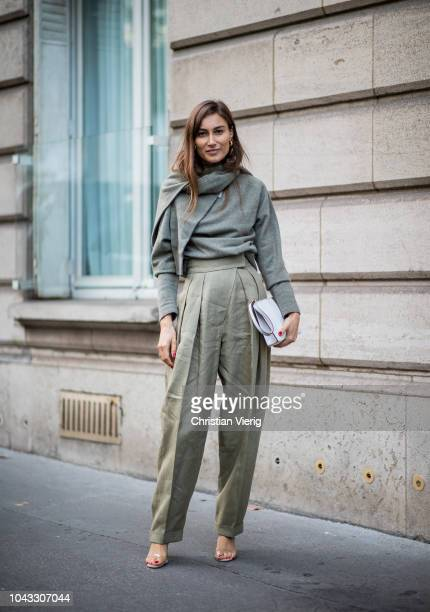 Giorgia Tordini wearing olive pants knit is seen outside Alessandra Rich during Paris Fashion Week Womenswear Spring/Summer 2019 on September 28 2018...