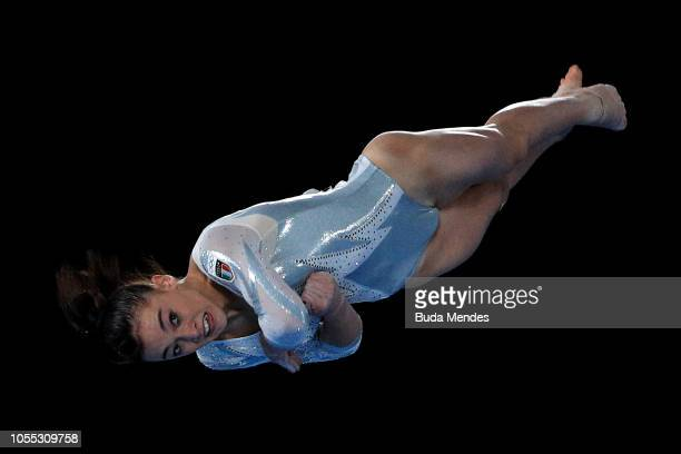 Giorgia Villa of Italy competes in Women's Floor Exercise Final during day 9 of Buenos Aires Youth Olympic Games at Youth Olympic Park on October 15...
