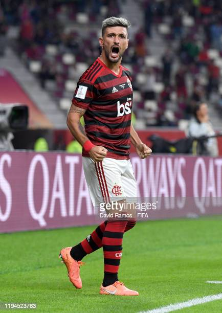 Giorgian De Arrascaeta of CR Flamengo celebrates after scoring his team's first goal during the FIFA Club World Cup semi-final match between CR...