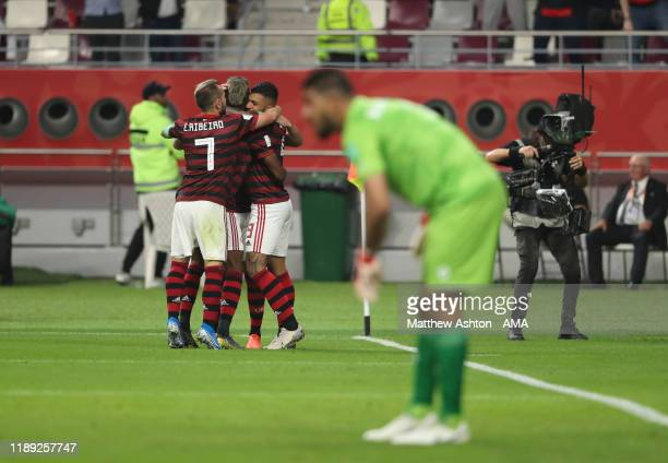 Giorgian De Arrascaeta of CR Flamengo celebrates with his team mates after scoring a goal to make it 1-1 during the FIFA Club World Cup Qatar 2019...