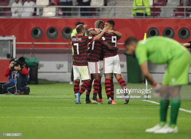 Giorgian De Arrascaeta of CR Flamengo celebrates with his team mates after scoring a goal to make it 11 during the FIFA Club World Cup Qatar 2019...