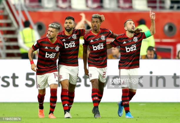 Giorgian De Arrascaeta of CR Flamengo celebrates with teammates after scoring his team's first goal during the FIFA Club World Cup semifinal match...