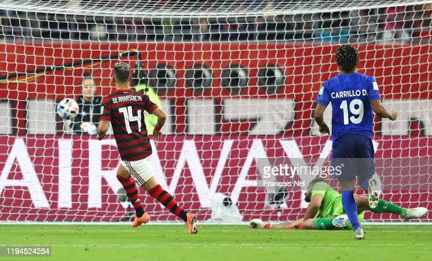 Giorgian De Arrascaeta of CR Flamengo scores his team's first goal during the FIFA Club World Cup semi-final match between CR Flamengo and Al Hilal...