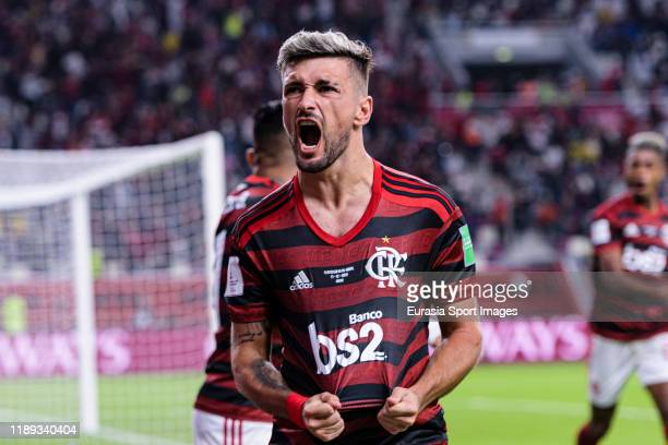 Giorgian De Arrascaeta of Flamengo celebrates his goal during the FIFA Club World Cup SemiFinal match between CR Flamengo and Al Hilal FC at Khalifa...