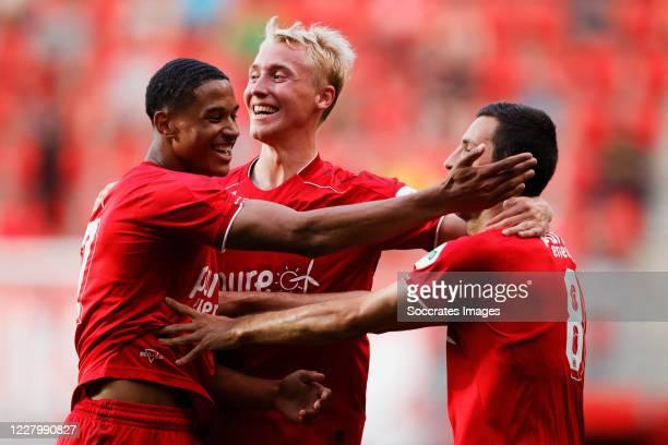 Giorgin Aburjania of FC Twente celebrates 1-0 with Jayden Oosterwolde of FC Twente during the Club Friendly match between Fc Twente v Fortuna Sittard...