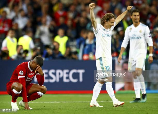 Giorginio Wijnaldum of Liverpool FC Luca Modric of Real Madrid CFCristiano Ronaldo of Real Madrid CF during the UEFA Champions League final between...
