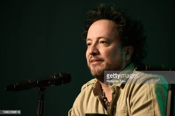 Giorgio A Tsoukalos speaks onstage at Ancient Aliens Alien Engineering during day 3 of AlienCon Baltimore 2018 at Baltimore Convention Center on...