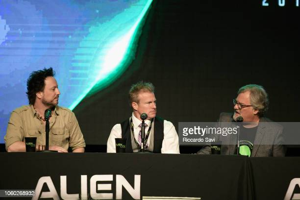 Giorgio A Tsoukalos Travis Taylor and David Childress speak onstage at Ancient Aliens Alien Engineering during day 3 of AlienCon Baltimore 2018 at...