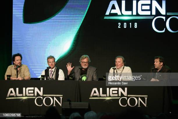 Giorgio A Tsoukalos Travis Taylor David Childress William Henry and David Silver speak onstage at Ancient Aliens Alien Engineering during day 3 of...